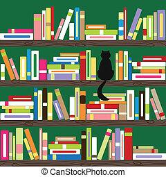 livros, coloridos, estante