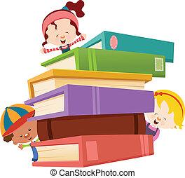 livros, crianças