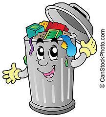 lixo, caricatura, lata