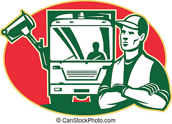 lixo, carregador, caminhão, lixo, cobrador, lado