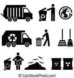 lixo, lixo, ícones