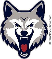 lobo, mascote, cabeça