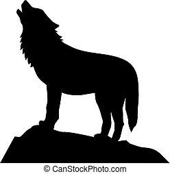 lobo, uive, ficar