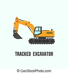 localizado, escavador, ilustração, equipamento, construção, amarela, icon.