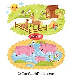 localizado, vetorial, animais, farm.