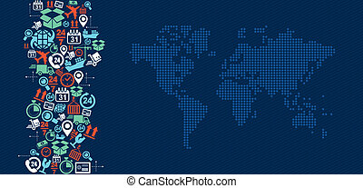 logística, mapa, illustration., ícones, despacho, respingo, mundo