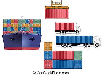 logística, recipiente, transporte