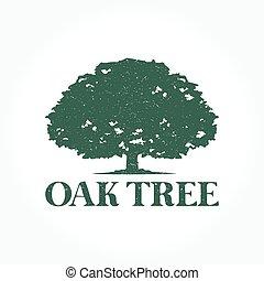 logotipo, árvore, carvalho