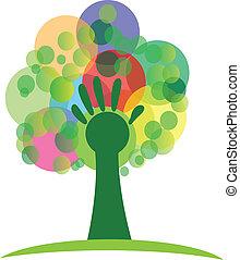 logotipo, árvore, grupos, mão