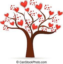 logotipo, árvore, valentines, ame corações