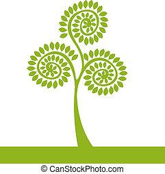 logotipo, árvore verde