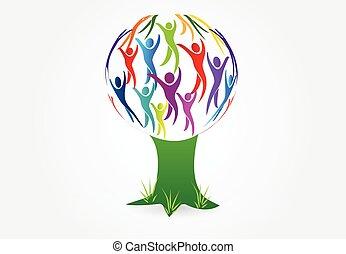 logotipo, árvore, vetorial, pessoas