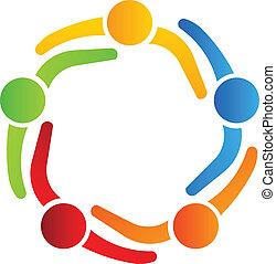 logotipo, 5, desenho, sócios negócio
