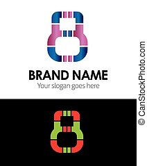 logotipo, 8, número, ícone