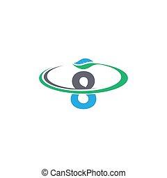 logotipo, 8, número, folha, ícone, desenho, conceito