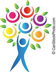 logotipo, abstratos, árvore