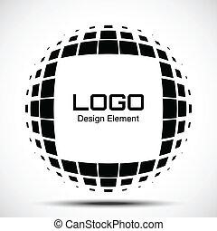 logotipo, abstratos, halftone, projete elemento