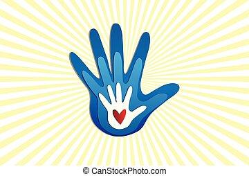 logotipo, amor, família, mãos