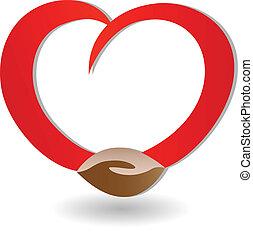 logotipo, amor, handshaking