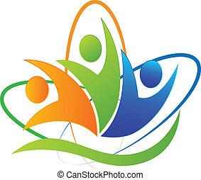 logotipo, app, feliz, sucesso, pessoas