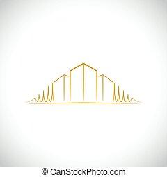logotipo, arquiteta, amarela