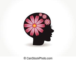 logotipo, bonito, flor, rosto, mulher, cor-de-rosa