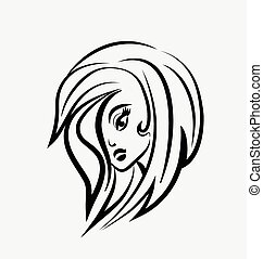 logotipo, bonito, mulher
