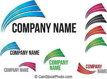 logotipo, (business), companhia, desenho, arcos