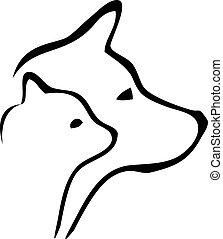 logotipo, cabeças, cão, gato