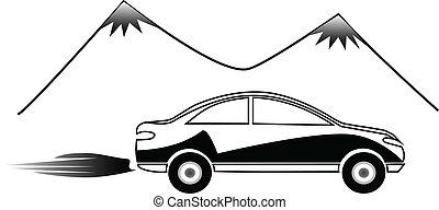 logotipo, car, rapidamente