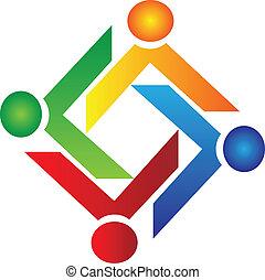 logotipo, caridade, vetorial, trabalho equipe, pessoas