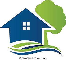 logotipo, casa, árvore, ondas