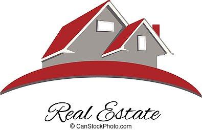 logotipo, casa, propriedade, vermelho, real