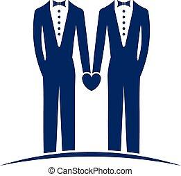 logotipo, casamento, mesmo, sexo