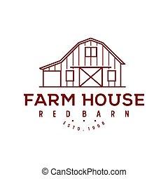 logotipo, celeiro, desenho, fazenda, estilo, madeira, vindima, arte, linha, retro, minimalista