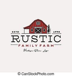logotipo, celeiro, desenho, fazenda, rústico, vindima, ilustração, retro