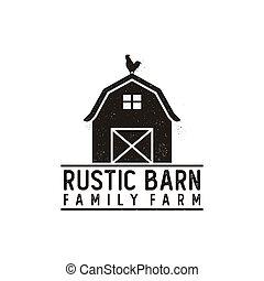 logotipo, celeiro, desenho, fazenda, rústico, vindima, retro, grunge
