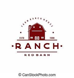logotipo, celeiro, desenho, fazenda, vindima, retro