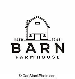 logotipo, celeiro, dourado, fazenda, desenho, madeira, vindima, arte, linha, retro, minimalista