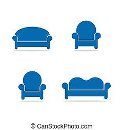 logotipo, cobrança, modelo, sofá