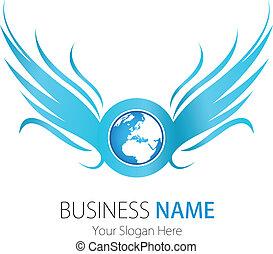 logotipo, companhia, desenho, asas, terra
