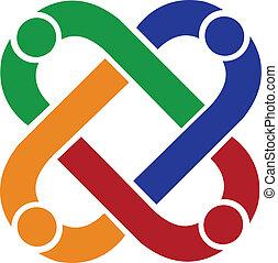 logotipo, conexão, trabalho equipe, pessoas