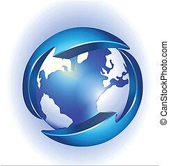 logotipo, conexão, vetorial, mundo
