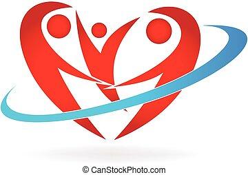 logotipo, coração, família