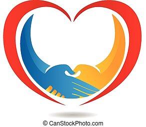 logotipo, coração, negócio, aperto mão