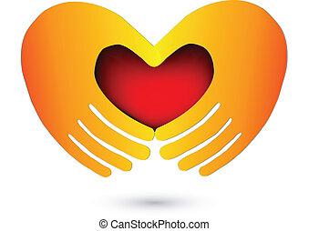 logotipo, coração, vermelho, mãos