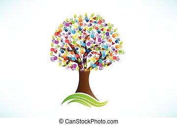 logotipo, corações, mãos, árvore, amor, impressão