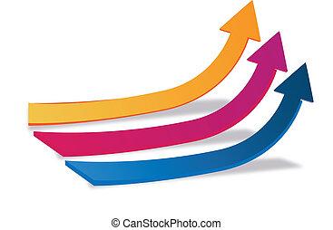 logotipo, crescimento, setas, negócio