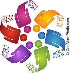 logotipo, criativo, desenho, trabalho equipe