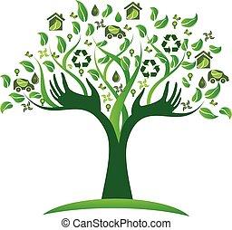 logotipo, ecológico, árvore, verde, mãos